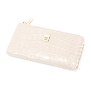 PRIMACLASSE(プリマクラッセ)PSW9-2139クロコ型押しレザーラウンドジップ長財布(アイボリー)