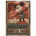 DISNEY ラグマット/絨毯 【MICKEY/Haunted house RUG 100cm×140cm レッド】 日本製 スミノエ 〔リビング ダイニング〕
