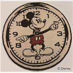 DISNEY ラグマット/絨毯 【MICKEY/On the clock! RUG 100cm×100cm ベージュ】 日本製 スミノエ 〔リビング ダイニング〕