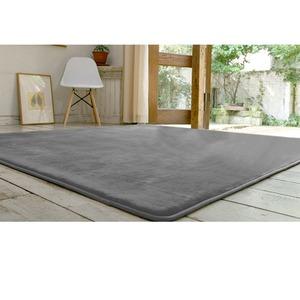 フランネル ラグマット/絨毯 【190cm×190cm グレー】 正方形 ホットカーペット 床暖房可 低反発&高反発 防音 防滑