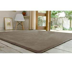 フランネル ラグマット/絨毯 【190cm×190cm ライトブラウン】 正方形 ホットカーペット 床暖房可 低反発&高反発 防音 防滑