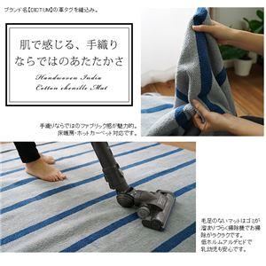 インドコットンシェニール手織り キッチンマット (CR600C) 50×200cm スカイグレー