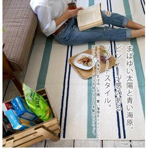 おしゃれでシンプルな分厚いラグ・マット スミノエ ウォッシャブル 綿混 ラグ マリンボーダー 130×185cm ブルー 【日本製】