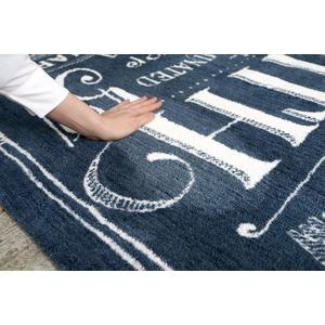 ヴィンテージ風 ラグマット/絨毯 【190cm×190cm ブルー】 正方形 マイクロファイバー 『ノイル』 〔リビング〕