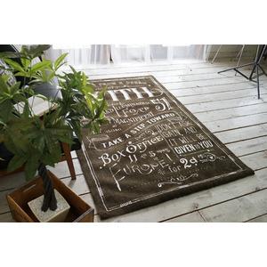 ヴィンテージ風 ラグマット/絨毯 【190cm×190cm ブラウン】 正方形 マイクロファイバー 『ノイル』 〔リビング〕
