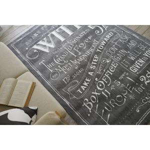 ヴィンテージ風 ラグマット/絨毯 【190cm×190cm グレー】 正方形 マイクロファイバー 『ノイル』 〔リビング〕