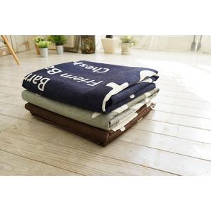 シェニールプリントラグ/絨毯 【185cm×185cm ブラウン】 正方形 洗える 防滑 ポリエステル 『バスサイン』 〔リビング〕