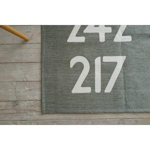 手洗いできる シェニールプリントラグ バスサイン 185×185cm グレー