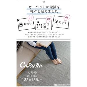 丸洗い対応 ラグマット/絨毯 【185cm×185cm オリーブ】 正方形 日本製 洗える 折りたたみ 軽量 カット可 『カルル』