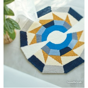 北欧 ラグマット/絨毯 【85cm×85cm ブルー】 日本製 防ダニ アクセントラグ パレード 『イヴァナヘルシンキ』