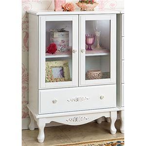 ピュアホワイトアンティーク飾り家具 4: キャビネット - 拡大画像