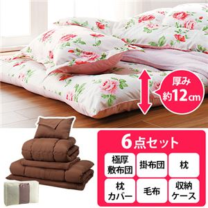 極厚敷布団付寝具セット 1: シングル6点セット ピンク - 拡大画像