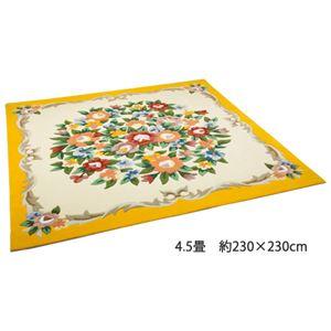 可憐な花柄アクリルフックカーペット 5: 正方形 約200×200cm ベージュの詳細を見る