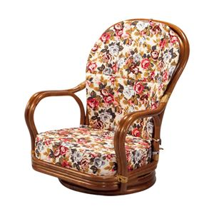 ハイバック籐回転座椅子(フロアチェア) 【1: ロータイプ】 木製 座面高18cm 肘付き 厚手クッション - 拡大画像
