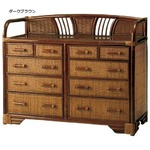 籐チェスト 【5: ヨコ90cm】 木製 収納棚付き アジアン調 ライトブラウン 【完成品】