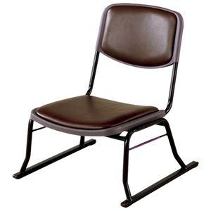 スタッキングチェア/楽座椅子4点セット スチール製 ブラウン 〔法事/集会/会食/来客時〕 - 拡大画像