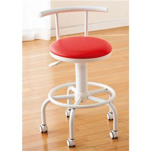 座り心地のよいキッチンチェアフットレスト/キャスター付き高さ調節可レッド(赤)