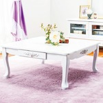 折れ脚猫足テーブル(折りたたみローテーブル) 【3: 正方形】 木製 引き出し付き 姫系 ピュアホワイト