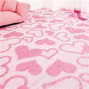 撥水加工タフトカーペット 5: 江戸間8畳 ピンクハートの詳細を見る