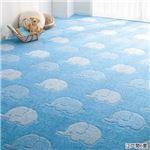 はっ水加工タフトカーペット 4: 江戸間6畳 ゾウ柄