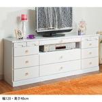 選べる引き出しいっぱいリビングボード(サイドボード) 【6: 幅120cm×高さ48cm】 木製 ホワイト(白) の画像