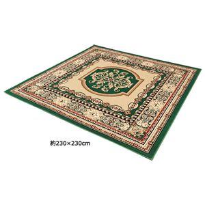 マットプレゼント付ウィルトン織カーペット「ミラ」 グリーン 2: 約170×170cmの詳細を見る