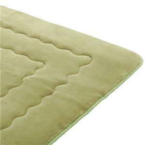 ホットカーペットが付いたふわモコキルトラグ グリーン 5: 3cm厚 1.5畳サイズの詳細を見る