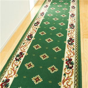 ウィルトン織廊下敷「ビルネ」 グリーン 14: 約98×180cmの詳細を見る