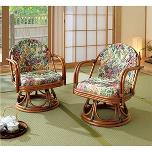 籐回転座椅子2脚組 【2: ハイタイプ】 木製 座面高30cm 肘付き - 拡大画像