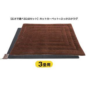 ホットカーペット付ふっかふかラグ ブラウン 3: 厚さ3cm 3畳用約195×240cmの詳細を見る