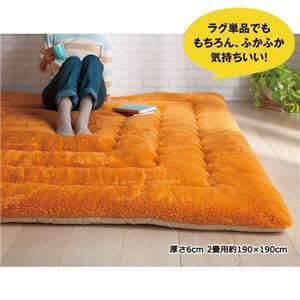 ふっかふかラグ 単品 ダークオレンジ 5: 厚さ6cm 2畳用約190×190cmの詳細を見る
