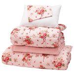 極厚敷布団付き寝具6点セット 【シングルサイズ】 厚手 毛布付き ピンク
