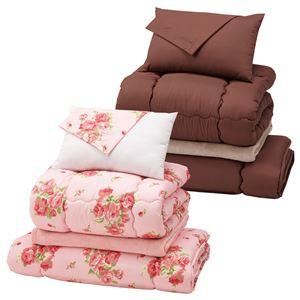 ふわふわ毛布付寝具2色組10点セット 2: ボリュームタイプ(シングル2組セット) ローズ柄&ブラウン