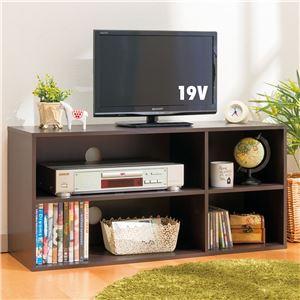 シンプルテレビ台(カラーボックス/テレビボード) 2段 【幅90cm:26型〜40型対応】 コンパクト ダークブラウン (組立式)