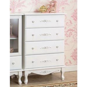 チェスト(サイドチェスト)【幅60cm】『ピュアホワイトアンティーク飾り家具』木製アンティーク調/猫足