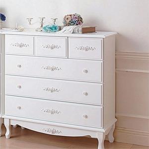 チェスト【幅90cm】『ピュアホワイトアンティーク飾り家具』木製アンティーク調/猫足