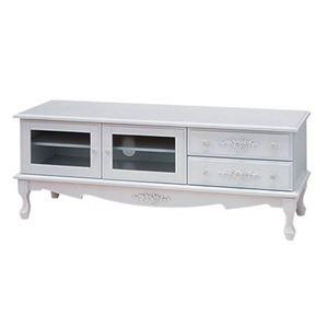 テレビ台/テレビボード 【幅120cm:37型〜52型対応】 木製 猫足 『ピュアホワイトアンティーク飾り家具』 の画像