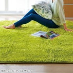 さらふわシャギーラグマット(ホットカーペット対応) 【サークル(円形)/約185cm×185cm】 アップルグリーン(緑)