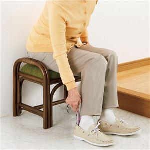 籐立ち上がりスツール/玄関椅子 【グリーン(緑...の紹介画像2
