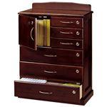 リビングチェスト 「全段鍵付き家具シリーズ」 木製 幅62cm×奥行32cm×高さ85cm の画像