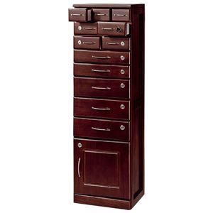 縦型チェスト 「全段鍵付き家具シリーズ」 木製 幅36cm×奥行33cm×高さ120cm の画像