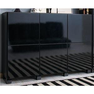 鏡面仕上げキャビネット「キューブ」 【3: 横6杯】 木製 幅108cm×奥行30cm×高さ77.5cm フラットトップ