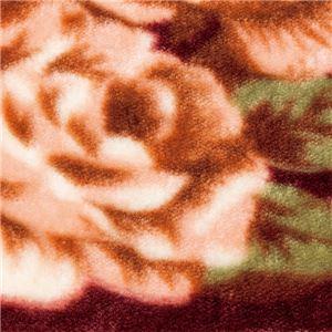 あったか花柄ラグマット 【3畳サイズ】 ホットカーペットカバー 床暖房 こたつ敷可 裏面不織布貼り加工 ワイン