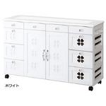 かわいいキッチンカウンター/キッチン収納 【幅111cm】 木製 キャスター付き タイル天板 ホワイト(白) 【半完成品】