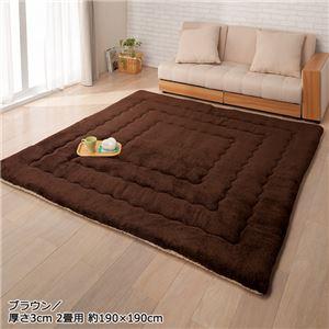 ふっかふかラグマット単品【厚さ3cm2畳用約190×190cm】床暖可ブラウン