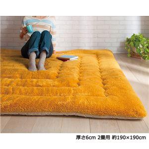 ふっかふかラグマット単品【厚さ3cm2畳用約190×190cm】床暖可ダークオレンジ