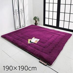 ふっかふかラグマット単品【厚さ3cm2畳用約190×190cm】床暖可パープル(紫)