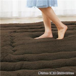 ふっかふかラグマット 単品 【厚さ3cm 2畳用 約190×190cm】 床暖可 パープル(紫)