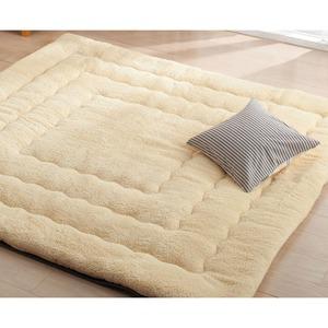 ふっかふかラグマット単品【厚さ3cm2畳用約190×190cm】床暖可アイボリーベージュ