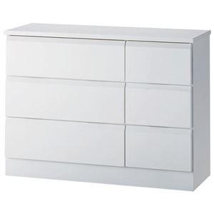 ワイドチェスト/リビング収納 【3段】 木製 幅80cm×奥行30cm×高さ60cm ホワイト(白)